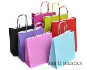 "TWIST HANDLE PAPER CARRIER BAGS BLACK / PINK / PURPLE & LIGHT BLUE BAGS 7"" x 3"" x 8""   /  18cm x 8cm  x 20cm"
